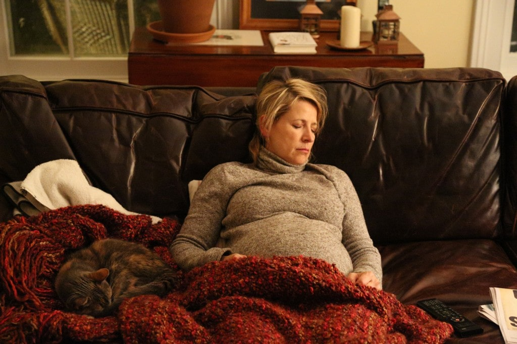 Samantha Brown Pregnancy Napping with a Cat